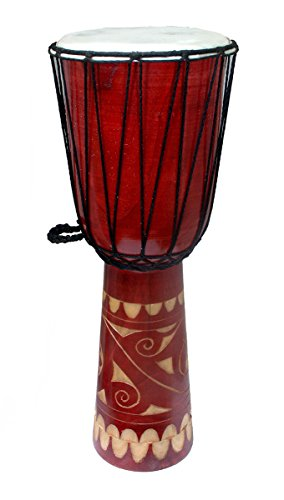 Wood Djembes 24 Inch Tall Hand-Carved Wooden Djembe Drum 9 X 23.625 X 9 Inches Brown by Zeckos