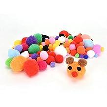 WENHAI Set of 200 PCS Craft Pompoms Assorted Kids DIY Pom Poms for Craft Making