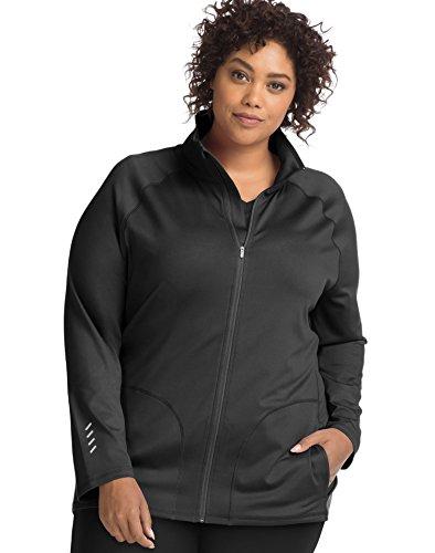 My Size 5 Pocket Just (Just My Size Women's Plus Active Full-Zip Mock Neck Jacket, Black, 5X)
