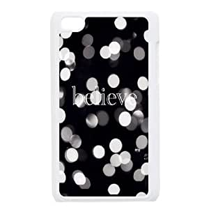 iPod Touch 4 Case White quotes believe lights ISU242100