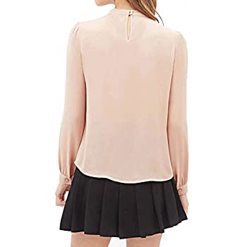 Fapizi ♥ Women Blouse ♥ Women Summer Fold Casual Chiffon Long Sleeve Shirt Tops Blouse (S, Pink) 2