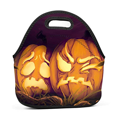 Brniogn Waterproof Lunch Box Carry Case Halloween Creative Pumpkin Face Lunch Bag for Adult Women and Men - Idea for Beach,Picnics,Road Trip,Meal Prep,Everyday Lunch to Work or School for $<!--$14.00-->