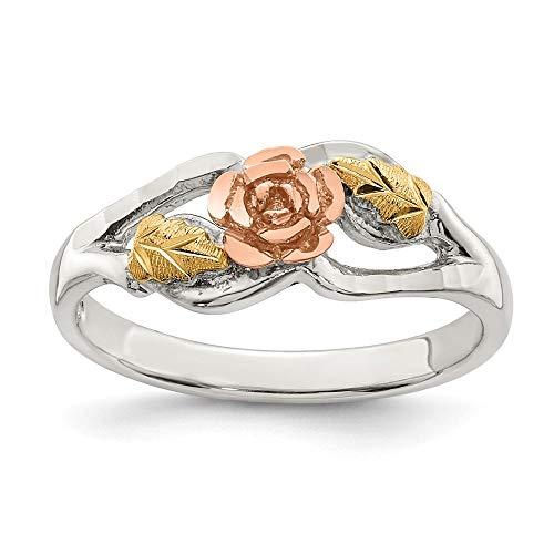 Landstrom's Black Hills Sterling Silver and 12K Gold Accent Rose Ring, Size 8