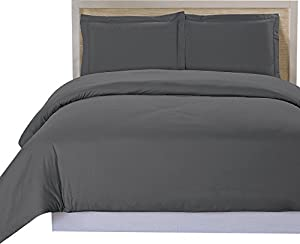 Utopia Bedding 3 Piece Queen Duvet Cover Set with 2 Pillow Shams, Grey
