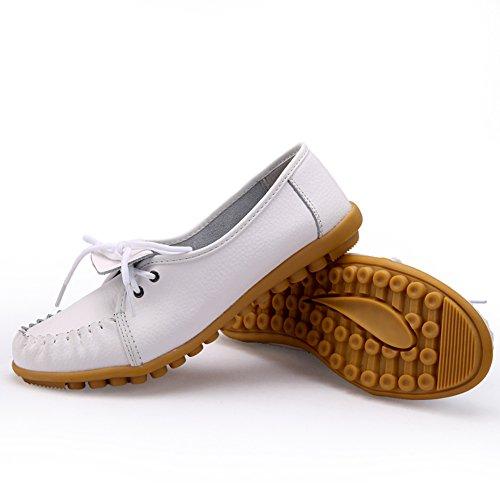 Lucksender Femmes En Cuir Bout Rond Chaussures Plates Mocassin Blanc