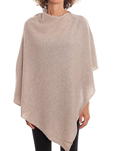 DALLE PIANE CASHMERE - Poncho 100% Cashmere - Made in Italy, Color: Beige, One Size (Womens Cashmere Poncho)