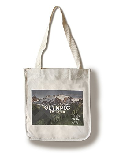 (Lantern Press Olympic National Park, Washington - Rubber Stamp (100% Cotton Tote Bag - Reusable))