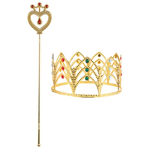 King Of Hearts Costume Kids (2-Pack of Princess Crown Tiara and Imitation Scepter - Princess Fairy Wand and Imitation Royal Rhinestone Crown for Kids, Little Girls, Gold)