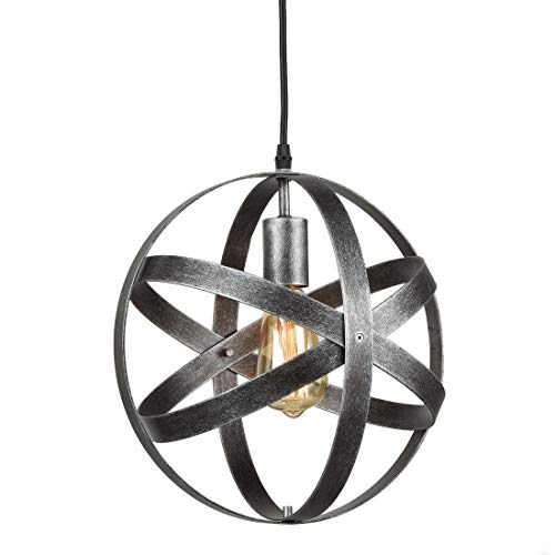 AXILAND Industrial Metal Spherical Antique Silver Pendant Displays Changeable Hanging Lighting Fixture