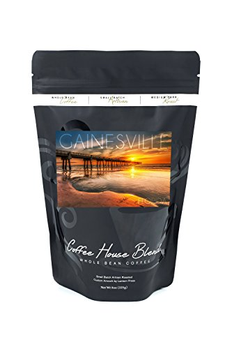 Gainesville, Florida - Pier and Golden Sunset (8oz Whole Bean Small Batch Artisan Coffee - Bold & Strong Medium Dark Roast w/ Artwork) (Pier Golden)