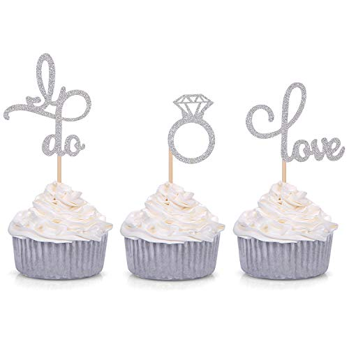 Set of 24 Silver Glitter Love Diamond Ring I Do Cupcake Toppers for Wedding Bridal Shower Engagement Party Picks