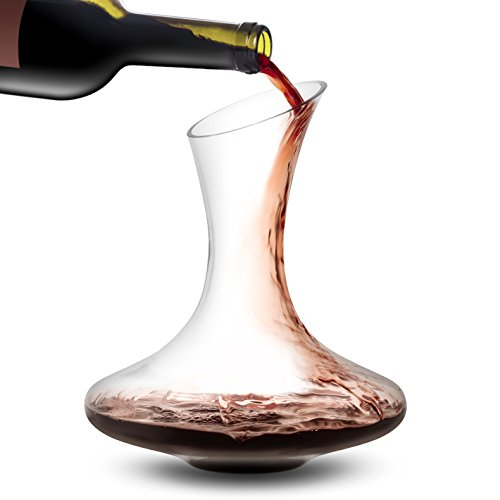 - JoyJolt Lancia Wine Decanter Lead-free Crystal 100% Hand Blown Wine Aerator, Glass Red Wine Carafe 54oz, Red Wine Accessories, This Wine Decanters Are A Great Gift for Wine Lovers