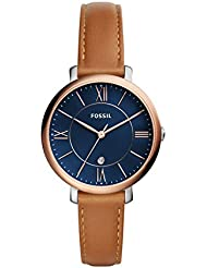 Fossil Womens Jacqueline Quartz Stainless Steel and Leather Casual Watch, Color:Brown (Model: ES4274)