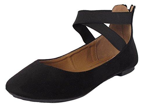 Ballerina Shoes - ANNA Dana-20 Women's Classic Ballerina Flat w/Elastic Crossing Straps Black 7.5