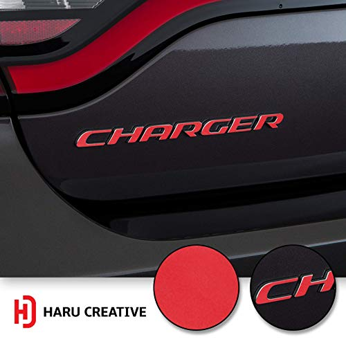 (Haru Creative - Rear Bumper Trunk Emblem Overlay Vinyl Car Decal Sticker Compatible with and Fits Dodge Charger 2015 2016 2017 2018 2019 - Matte Red)