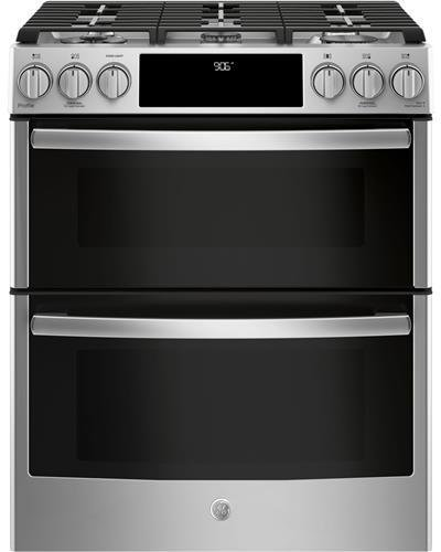 GE Profile PGS960SELSS 30 Inch Slide-in Gas Range with Sealed Burner Cooktop, 6.7 cu. ft. Primary Oven Capacity in Stainless Steel (Range Steel Gas Double Stainless)
