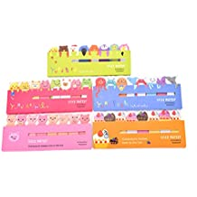 WWahuayuan 5 Packs Cute Cartoon Animals Sticky Marker Memo Pad Flag Self-Stick Note Bookmark Page Notes Kawaii Planner Paper Memo Sticker Index Tab Reminder Message Pad,Random Style