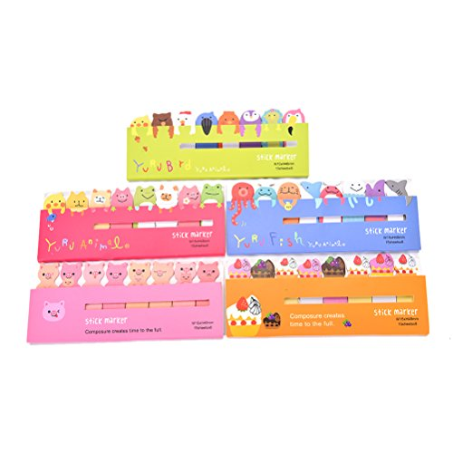 WWahuayuan 5 Packs Cute Cartoon Animals Sticky Marker Memo Pad Flag Self-Stick Note Bookmark Page Notes Kawaii Planner Paper Memo Sticker Index Tab Reminder Message Pad,Random Style (Markers Post Page)