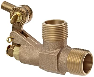 "Robert Manufacturing R700 Series Bob Red Brass Tank Wall Mounted Bulkhead Float Valve, 3/4"" NPT Male Straight Inlet x 3/4"" NPT Male Outlet, 39.9 gpm at 85 psi Pressure by Control Devices"