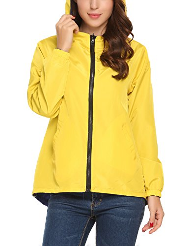 UNibelle Women Casual Hooded Long Sleeve Outdoor Waterproof Raincoat Jacket(Royal Blue ()