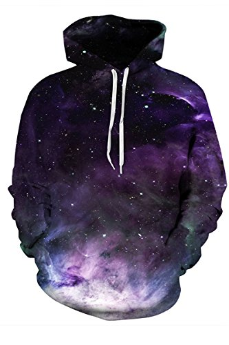 Haloon Unisex Simulation Printed Galaxy Pocket Drawstring Hooded Sweatshirt Galaxy Mist XXL