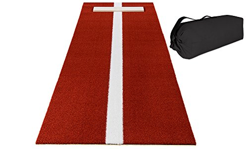 (All Turf Mats Pro-Ball Softball Pitching Mat with Power Line and Case, Clay - 3 feet x 10 feet)