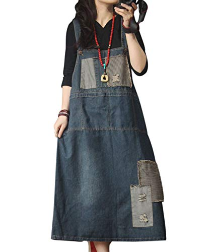 YESNO Women Fashion Casual Overall Denim Dress Striped Color Block Patched Midi A Skirt Back Slit/Pockets YZP