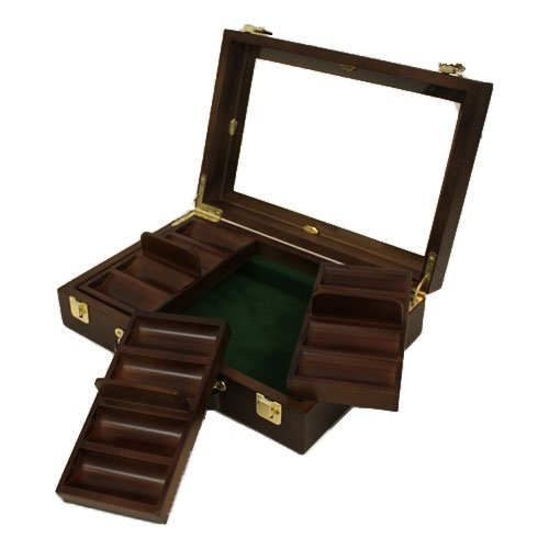(300 ct. Walnut Wooden Poker Chip Case w/ See Through Lid)