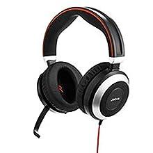 Jabra Evolve 80 Stereo Binaural Diadema Negro, Plata - Auriculares con micrófono (Centro de Llamadas/Oficina, Binaural, Diadema, Negro, Plata, Alámbrico, Supraaural)