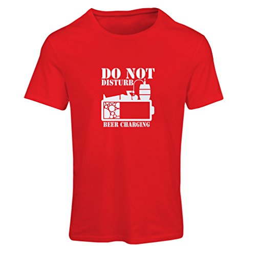 N4222F T Shirts for Women Beer Charging (Large Red White)