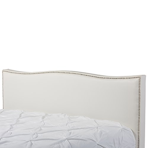 Baxton Studio CF8276-QUEEN-WHITE Battersby Modern Bed with Upholstered Headboard, Queen, White