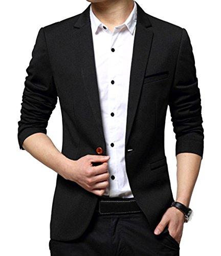 OUYE Men's Classic 1 Button Slim Fit Suit Jacket Casual Blazer 5X-Large Black ()