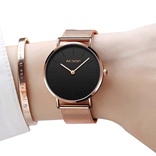 Ultra Thin Watches for Women,Rose Gold Ladies Watch Water Resistant Mesh Band Luxury Sports Womens Watches Analog Japanese Quartz Wrist Watches Female Watches on Sale,Black Dial,Big Face,AESOP Brand by XIN LINGYU