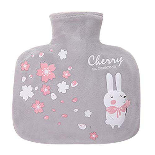 Fan-Ling Cute Cartoon Explosion-Proof,Hand Warmer,Water Injection Hot Water Bottle,Large Portable Hand Warmer,Multi-Function Thermos,Removable Washable Plush Cloth Cover,21X20cm (Gray)