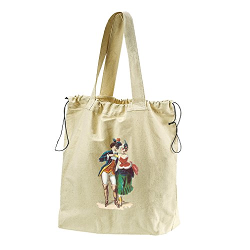 Couple At The Masquerade Canvas Drawstring Beach Tote Bag by Style in Print