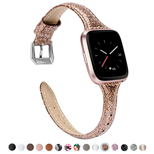 TOYOUTHS Leather Strap Compatible with Fitbit Versa Bands, Slim Genuine Leather Wristbands Replacement for Versa Lite Special Edition Versa Glitter Accessories Shiny Coffee