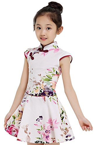 1800 Costumes Uk (True Meaning Pretty Girls Kids China Style Chinese Qipao Floral Cheongsam Summer Mini Dress # FTag 150(7-8T))