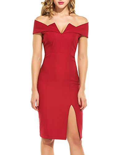 Zeagoo Womens 1959s Vintage Dress Party Off Shoulder Dress Swing Stretchy Dresses