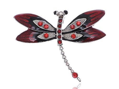 Alilang Silvery Tone Ruby Red Rhinestones Enamel Gothic Dragonfly Bug Brooch Pin ()