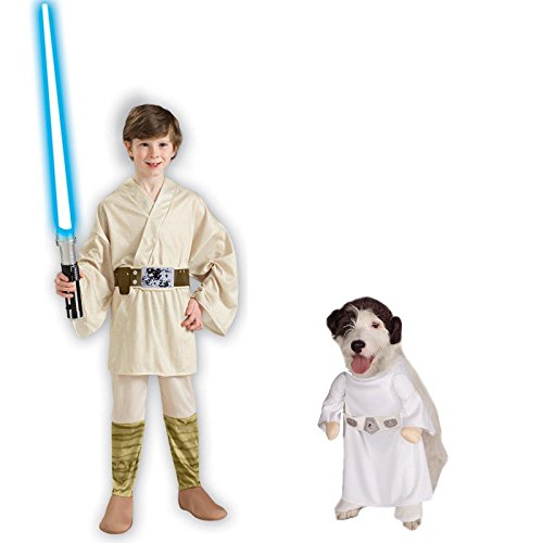 [Star Wars Luke Skywalker Child Medium Leia Pet Large Bundle Set] (Star Wars Dog Costumes Ewok)