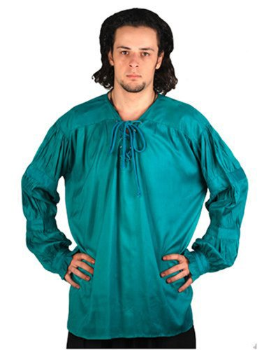 Vb Costume - Pirate Gothic Renaissance Medieval Costume Shirt (Large, Hunter Green)