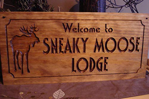Welcome Sign Moose Lodge Sign Rustic Signs Cabin Lodge Camp Signs Personalized Moose Wooden Sign Wall Decor Garden Signs and Plaques ()