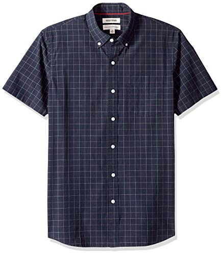 Amazon Brand - Goodthreads Men's Standard-Fit Short-Sleeve Plaid Poplin Shirt