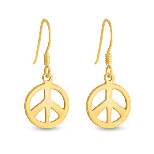 (Azaggi Sterling SIlver Handcrafted Hook Earrings Peace Sign (gold-plated-silver))