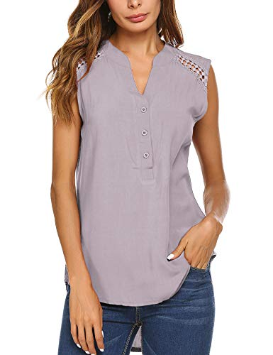 (Teewanna Women's Tunic Tank Top T-Shirt Loose Basic Sleeveless Blouse Shirt (Gray, XL))