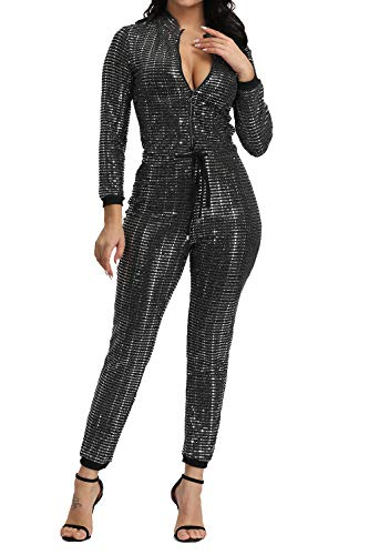 Adogirl Womens Sexy Bodycon Metallic Jumpsuit - Sparkly Drawstring One Piece Romper Playsuit Clubwear Sliver L