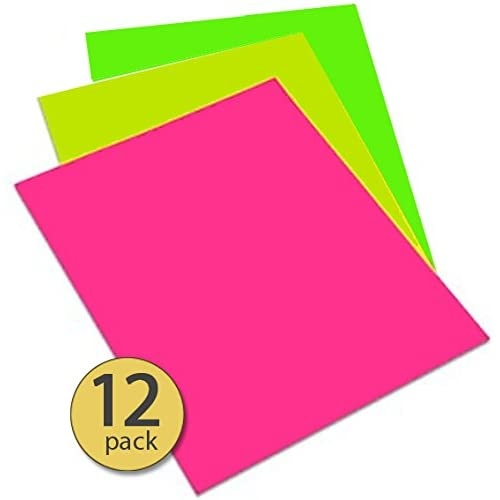 pack of 12 flourescent neon poster board 9 x 12 green yellow