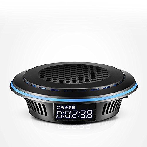 (12V car air purifier humidifier aromatherapy smart car boot HEPA filter negative ion oxygen bar in addition to formaldehyde, smoke, odor, PM2.5. Haze particle filter USB charging LED lights mini black)