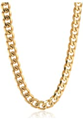 Men's Gold-Tone Stainless Steel Flat Curb Chain Necklace, 22""