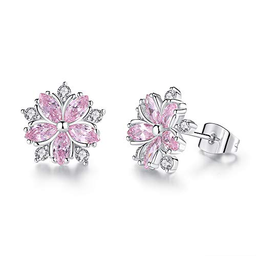 (W.shdove Silver Plated Necklace and Earring Jewelry Set for Women. Chain Necklace with Crystal. (Pink Flower Earrings))